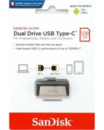 Sandisk Ultra Dual Drive USB Type-C - USB-flashstation - 128 GB - USB 3.0