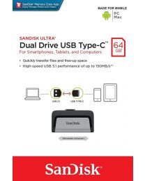 Sandisk Ultra Dual Drive USB Type-C - USB-flashstation - 64 GB - USB 3.1