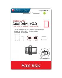 Sandisk Ultra Dual-drive m3.0 - USB-flashstation - 64 GB - USB 3.0/micro-USB